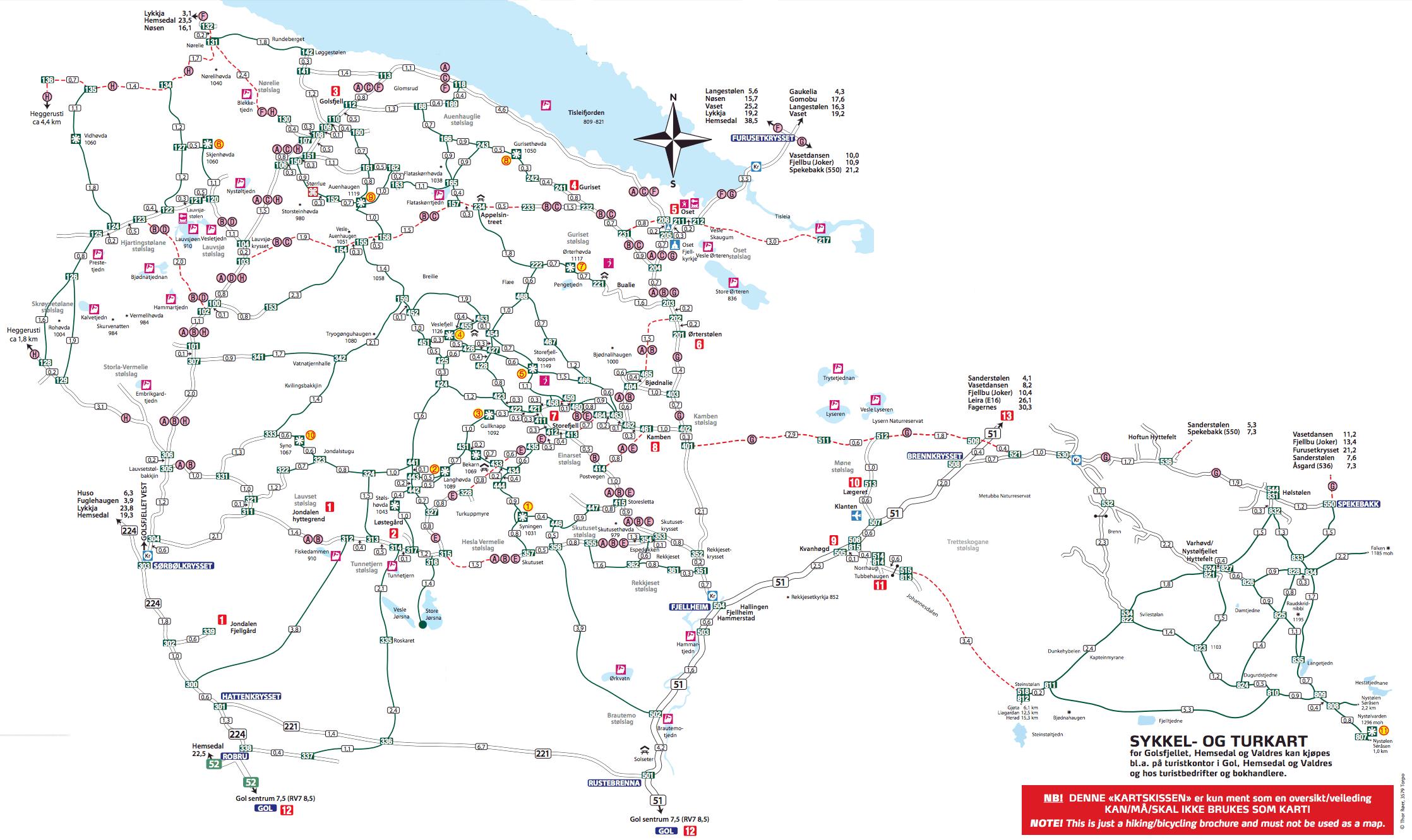 Oversiktskart for sommeropplevelser på Golsfjelelt. Vandring, Stolpejakt, Geocaching, Sykling, Fisking, Bading. Gol, Hallingdal, Valdres, Hemsedal.
