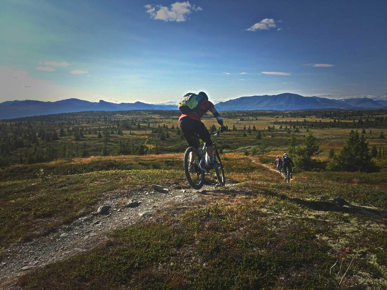 Stisykling, flytsti, flowride, høyfjellsti, Golsfjellet, Hallingdal, Valdres, Hemsedal. Foto: Thorgeir Røer