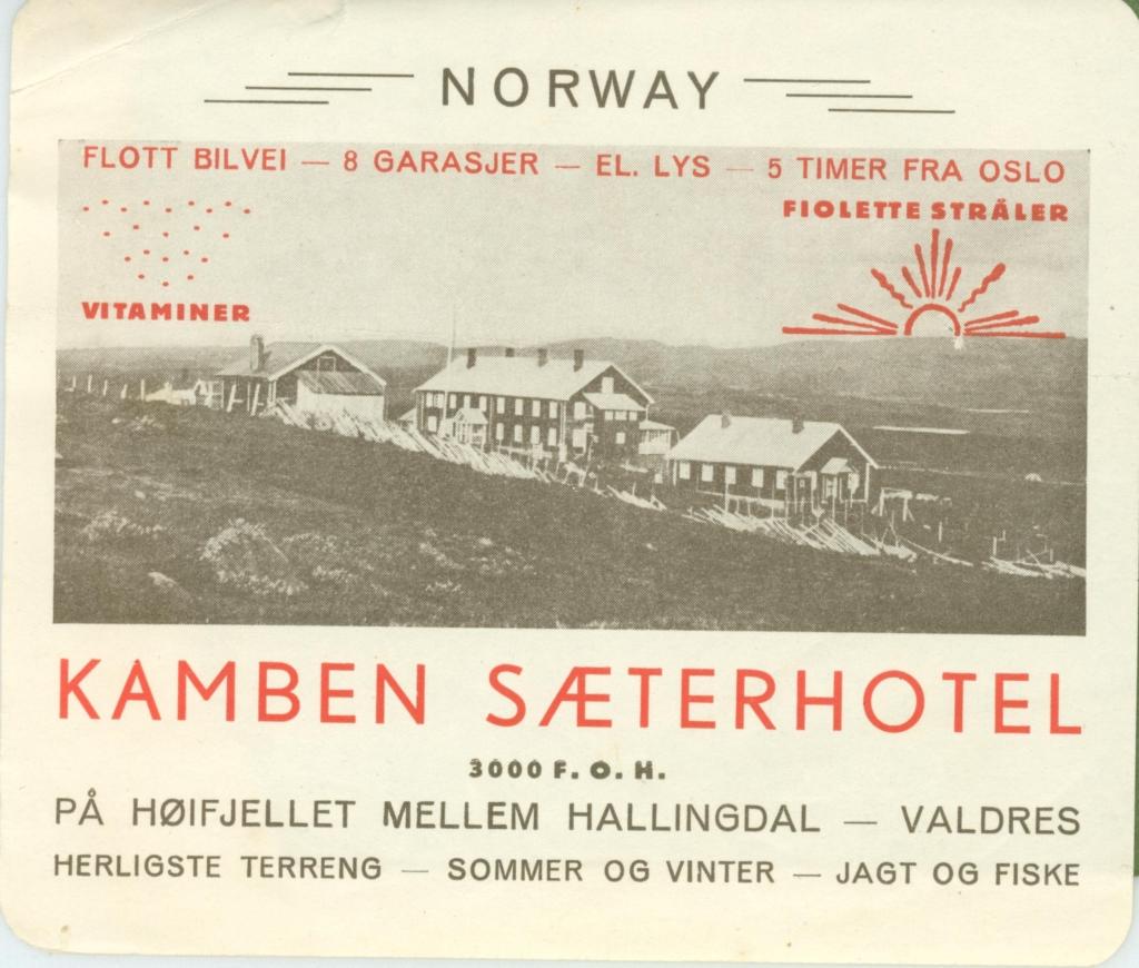 Gammel reklame, Kamben Høyfjellshotell Golsfjellet Hallingdal. Historie.