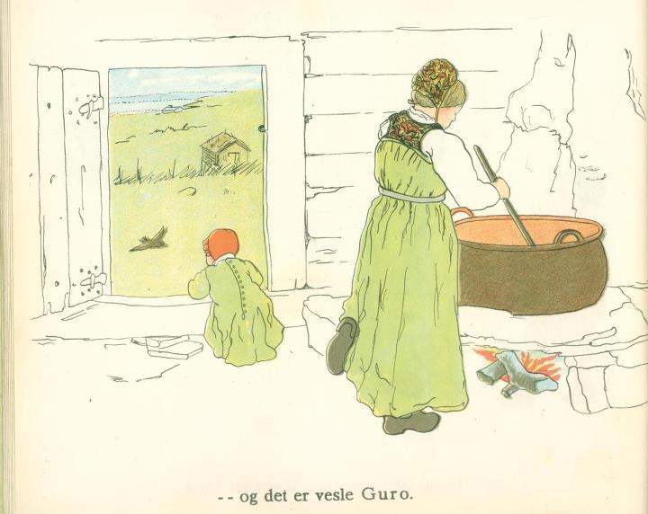Ved primkjelen på Buo støl ca 1890. Golsfjellet i Hallingdal.