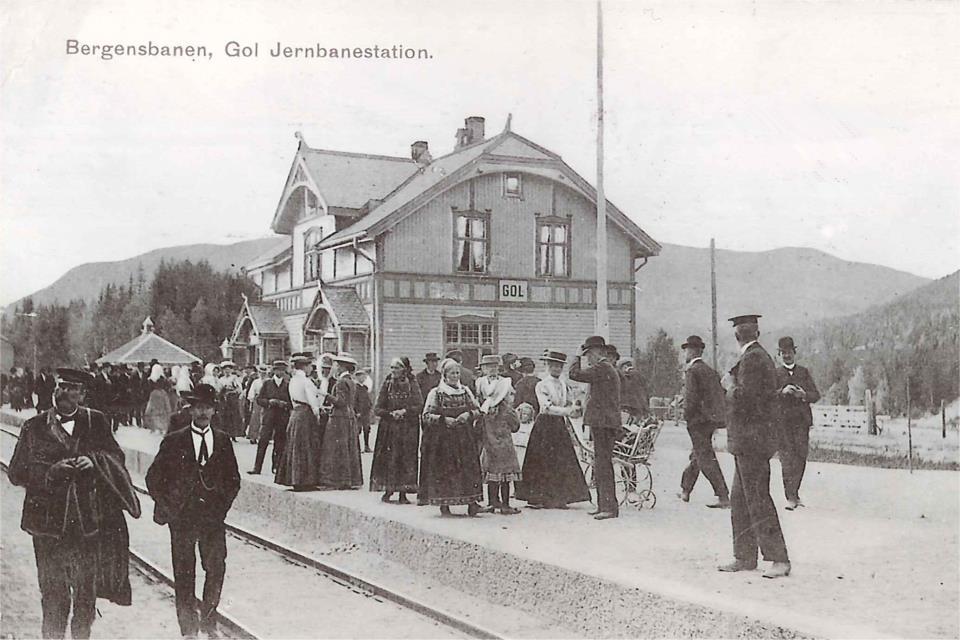 Bergensbanen Gol stasjon ca 1910. Hallingdal.