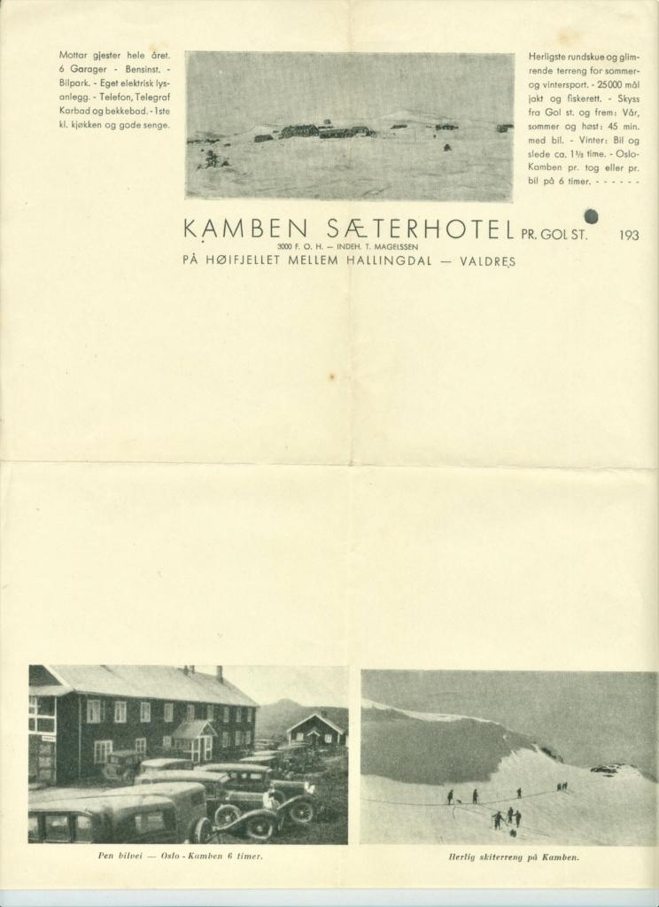 Kamben Sæterhotell Golsfjellet i Hallingdal, ca 1935.