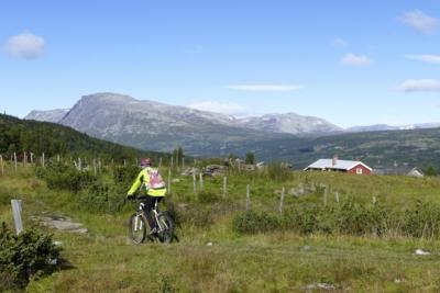 Nøreli stølsgrend i Hemsedal, en del av sykkelrunden rundt Tisleifjorden. Golsfjellet, Valdres, Hemsedal, Hallingdal. Foto: Birgit Haugen