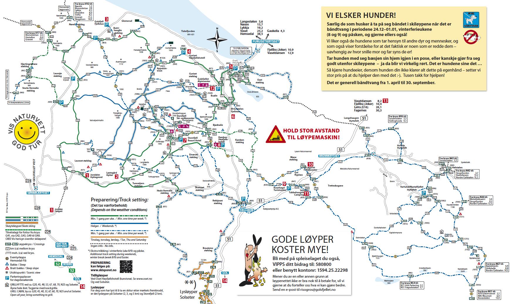 Vinterkart Golsfjellet, Hallingdal, Valdres, Hemsedal. Langrennsløyper, alpinsentre og andre aktiviteter.