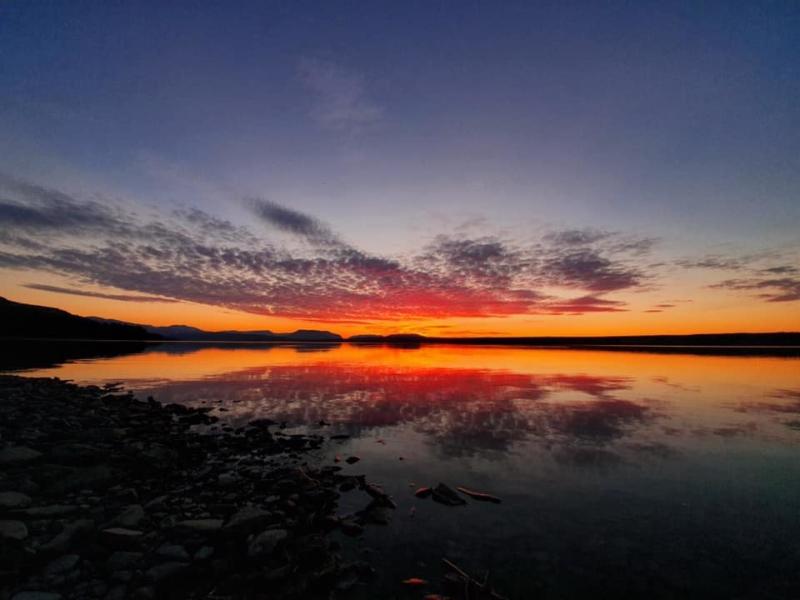 Solnedgang ved Tisleifjorden. Foto Eirik Hesla Berget